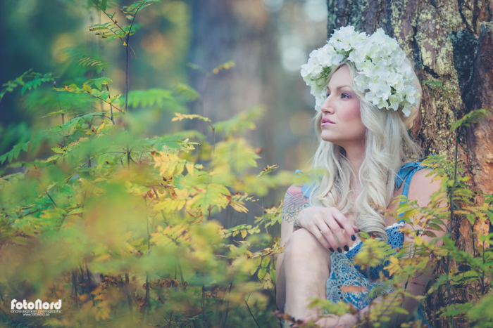 blond girl in autumn scenery