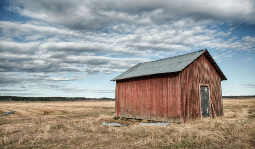 Scenery of rural farmland in north of Sweden