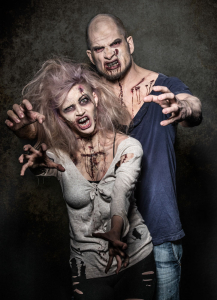 a bloody pair of scary evil zombies
