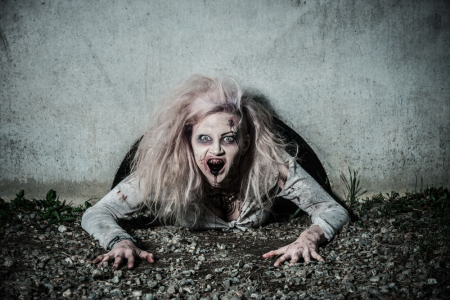 a scary undead zombie girl