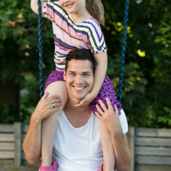 father and daughter at the playground